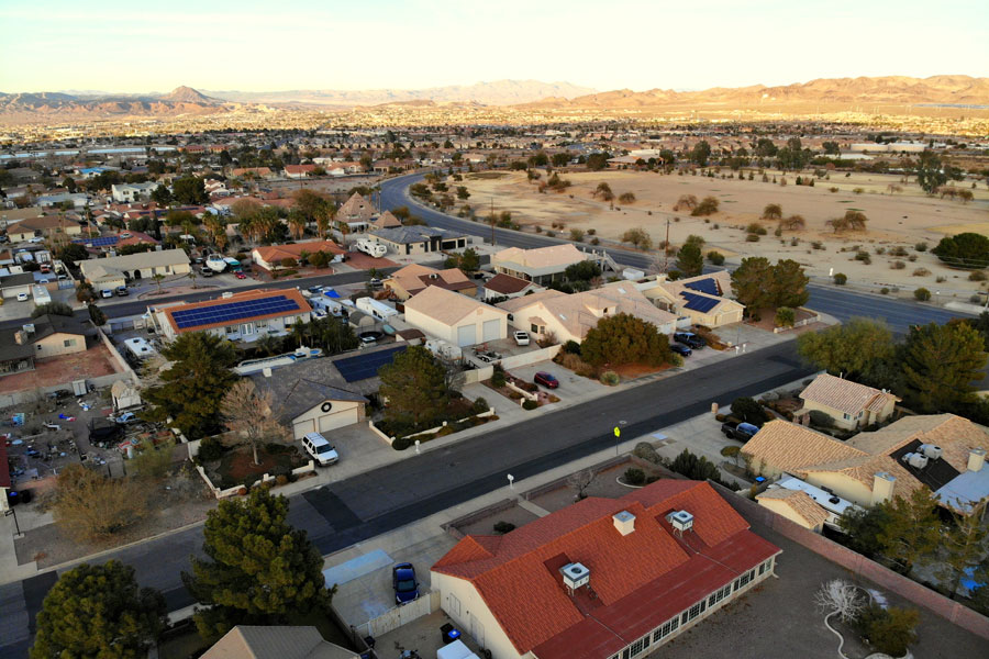 The aerial view of the streets and residential area of Henderson, Nevada, December 29, 2018. Photo credit: Khairil Azhar Junos / Shutterstock.com, licensed.
