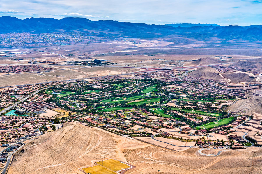 An aerial view of the Southern Highlands community near Las Vegas in Nevada, Photo credit ShutterStock.com, licensed.