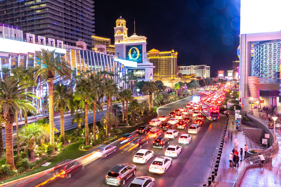 Car light trails on the strip at night in Las Vegas, Nevada. Photo credit ShutterStock.com, licensed.